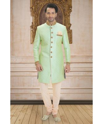 green embroidered raw silk indo western dresses