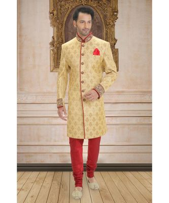 gold embroidered jacquard indo western dresses