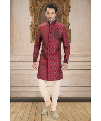 maroon embroidered jacquard indo western dresses