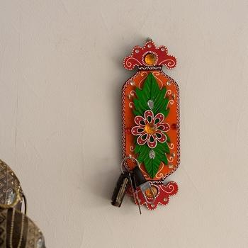 Floral Papier-Mache Wooden Keyholder
