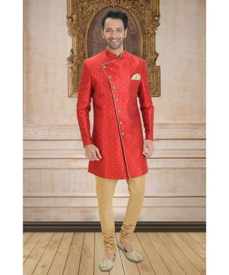 red embroidered raw silk indo western dresses