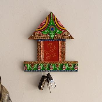 My Sweet home Hut Shape Papier-Mache Wooden Keyholder