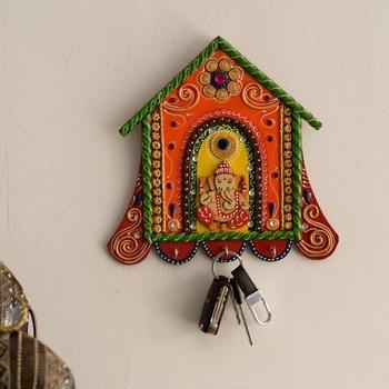 Lord Ganesha Papier-Mache Wooden Keyholder