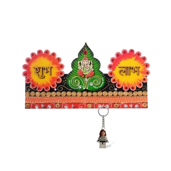 Lord Ganesha & Shubh Labh Papier-Mache Wooden Keyholder