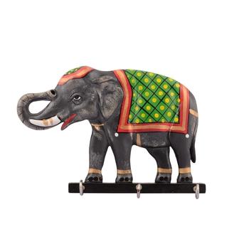 Elephant Design Wooden Key Holder(3 Hooks)