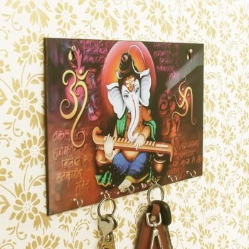 Lord Ganesha Theme Wooden Key Holder with 6 Hooks