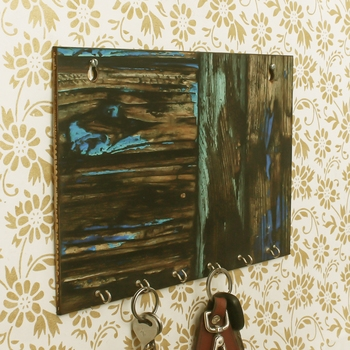 Painting Theme Wooden Key Holder with 6 Hooks