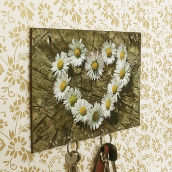 Floral Theme Wooden Key Holder with 6 Hooks
