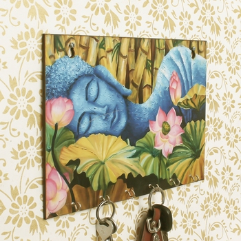 Lord Buddha Theme Wooden Key Holder with 6 Hooks