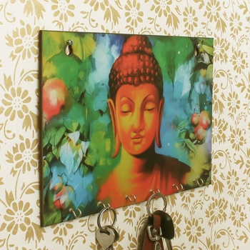 Lord Buddha Theme Wooden Key Holder with 6 Hooks