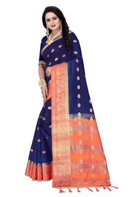Navy blue printed silk saree with blouse