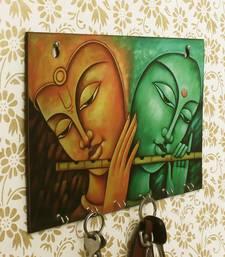 Radhe Krishna Theme Wooden Key Holder with 6 Hooks