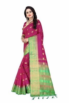Wine printed silk saree with blouse