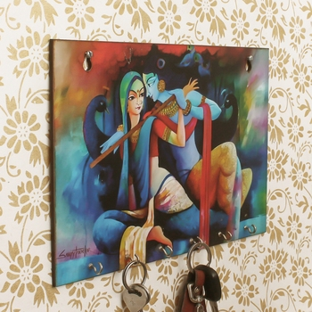 Radhe Krishna Theme Wooden Key Holder with 6 Hooks