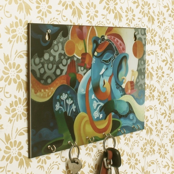 Lord Ganesha Theme Wooden Key Holder with 6 Hooks