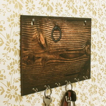 Abstract Theme Wooden Key Holder with 6 Hooks