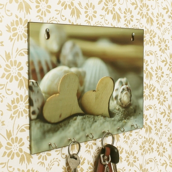 Heart Shells Theme Wooden Key Holder with 6 Hooks