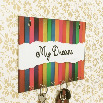 My Dream Theme Wooden Key Holder with 6 Hooks