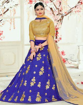 Blue embroidered silk semi stitched lehenga
