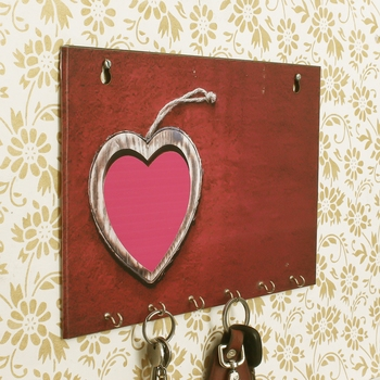 Heart Theme Wooden Key Holder with 6 Hooks
