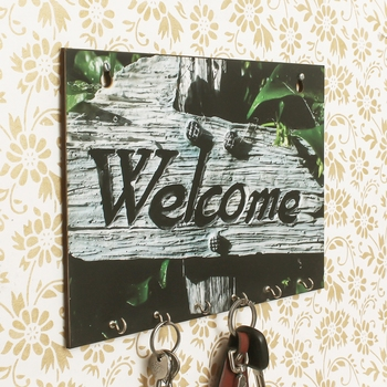 Welcome Theme Wooden Key Holder with 6 Hooks