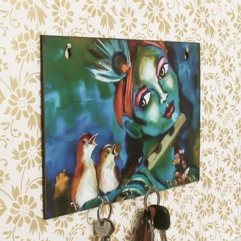 Shree Krishna Theme Wooden Key Holder with 6 Hooks
