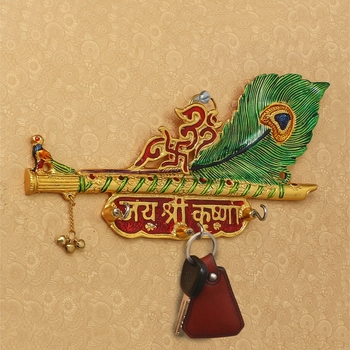 Jai Shree Krishna Key Holder With 3 Hooks