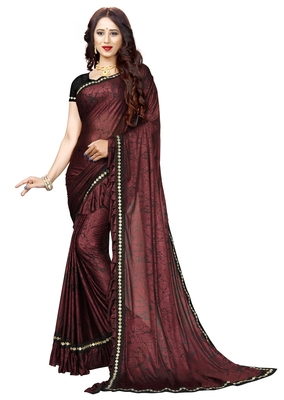 Maroon printed lycra saree with blouse