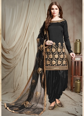 Black Embroidered Taffeta Semi Stitched Salwar With Dupatta