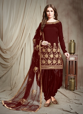 maroon embroidered taffeta semi stitched salwar with dupatta