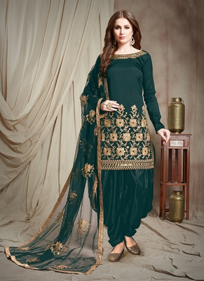 Green Embroidered Taffeta Semi Stitched Salwar With Dupatta