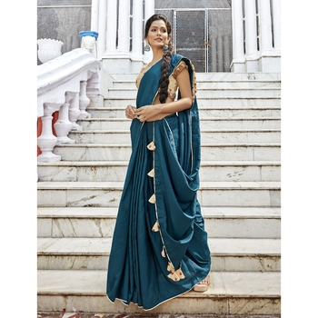 Navy blue solid chanderi silk saree with blouse