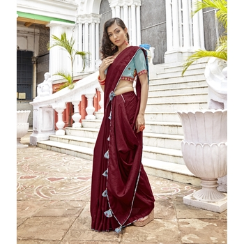 Maroon solid chanderi silk saree with blouse