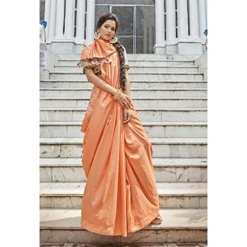 Orange solid chanderi silk saree with blouse
