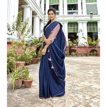 Blue solid chanderi silk saree with blouse