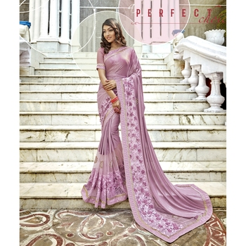 Pink embroidered lycra saree with blouse