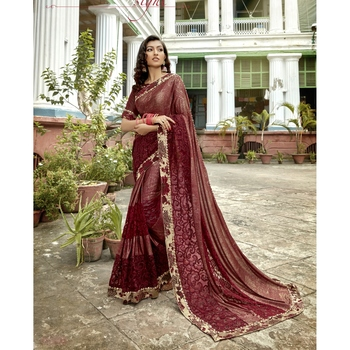 Maroon embroidered lycra saree with blouse