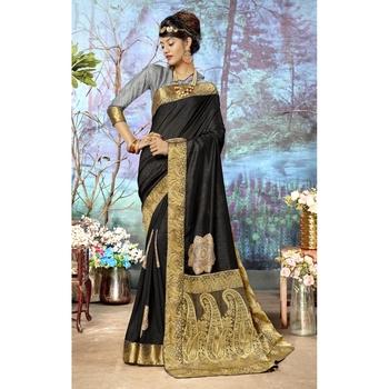 Black plain chanderi silk saree with blouse