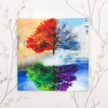 Colorful Tree Mirror Image Painting On Marble Square Tile