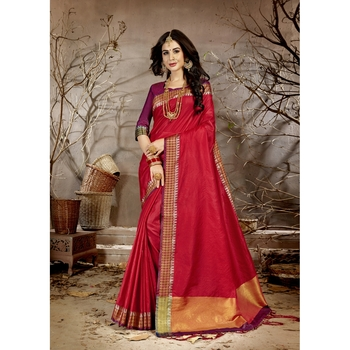 Red solid chanderi silk saree with blouse