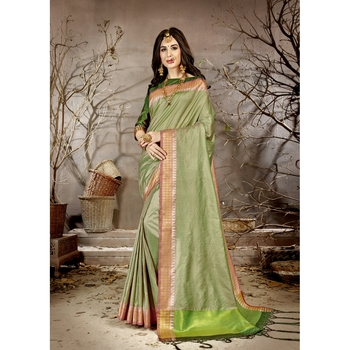 Light green solid chanderi silk saree with blouse