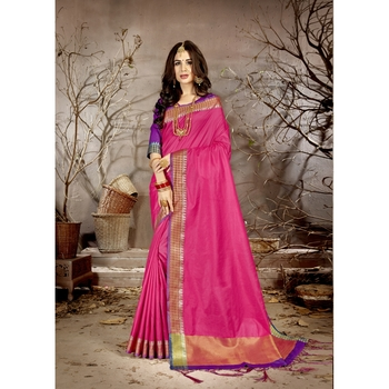 Pink solid chanderi silk saree with blouse