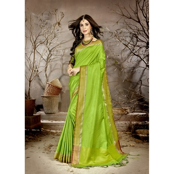 Green solid chanderi silk saree with blouse