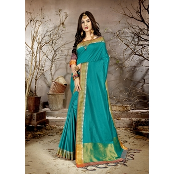 Sky blue solid chanderi silk saree with blouse