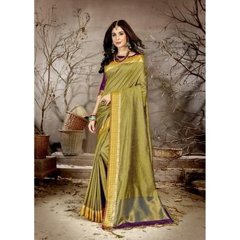 Mehendi solid chanderi silk saree with blouse