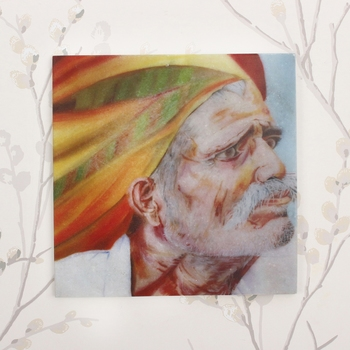 Rajasthani Old Man Wearing Turban Painting On Marble Square Tile