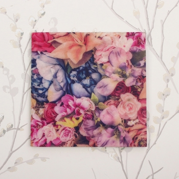 Colorful Bunch Of Flowers Painting On Marble Square Tile