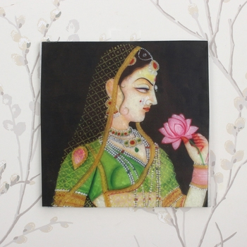 Rajasthani Ragini Lady With Lotus In Hand Painting On Marble Square Tile