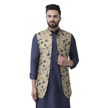 Beige Printed Linen Nehru Jacket