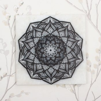 Abstract Rangoli Art Painting On Marble Square Tile